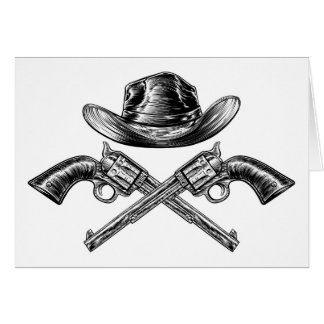 Cowboy Hat and Crossed Guns Card