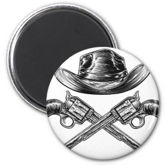 Cowboy Hat and Crossed Guns Magnet