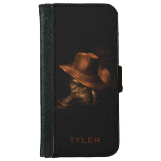Cowboy Hat and Leather Boots Masculine Personalize iPhone 6 Wallet Case