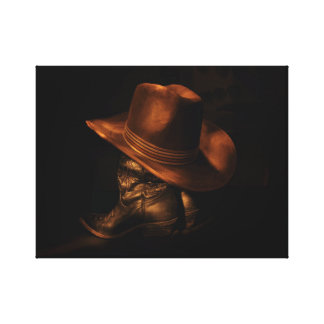 Cowboy Hat and Leather Boots Rustic Masculine Canvas Print