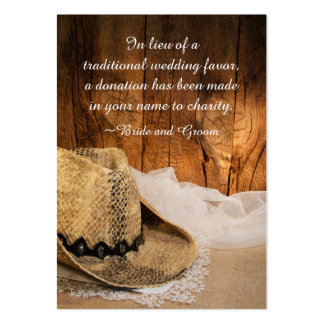 Cowboy Hat Barn Wood Wedding Charity Favor Card Pack Of Chubby Business Cards