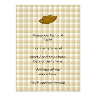 Cowboy Hat illustration. Brown. 17 Cm X 22 Cm Invitation Card