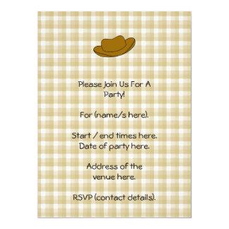 Cowboy Hat illustration. Brown. 17 Cm X 22 Cm Invitation Card