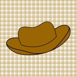 Cowboy Hat illustration. Brown. Photo Sculpture Magnet
