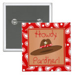 Cowboy Hat Red Bandanna Birthday Party Favour Badges