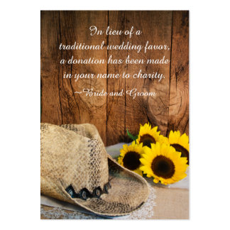 Cowboy Hat Sunflowers Barn Wedding Charity Favors Pack Of Chubby Business Cards