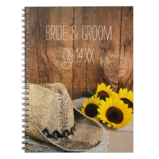 Cowboy Hat, Sunflowers, Barn Wood Country Wedding Notebook