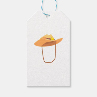 Cowboy Hat With Attaching String Drawing Isolated Gift Tags