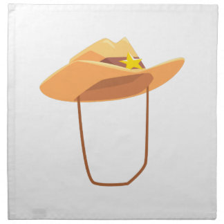 Cowboy Hat With Attaching String Drawing Isolated Napkin