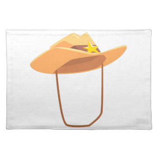 Cowboy Hat With Attaching String Drawing Isolated Placemat