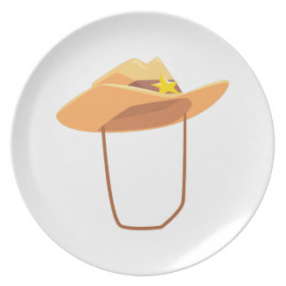 Cowboy Hat With Attaching String Drawing Isolated Plate