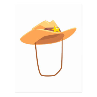 Cowboy Hat With Attaching String Drawing Isolated Postcard