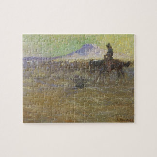Cowboy Herding Cattle on the Range by Lon Megargee Jigsaw Puzzle