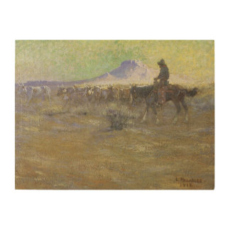 Cowboy Herding Cattle on the Range by Lon Megargee Wood Wall Art