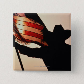 Cowboy holding Stars and Stripes, silhouette, 15 Cm Square Badge