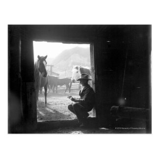 Cowboy in a doorway with horses postcard