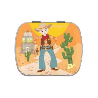 Cowboy kid birthday party jelly belly tin