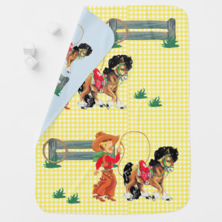 Cowboy  Kid With Rope  Fence And Horse Baby Blanket