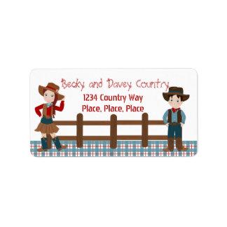 Cowboy Kids Address Label