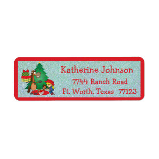 Cowboy Kids And Horse Cartoon Holiday Address Labe Return Address Label