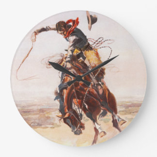 Cowboy on Bucking Bronco Large Clock