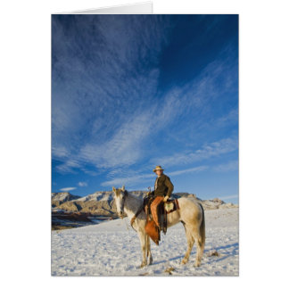 Cowboy on his Horse in the Snow 2 Greeting Card