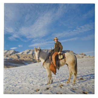 Cowboy on his Horse in the Snow 2 Large Square Tile