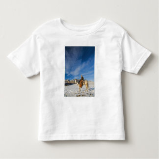 Cowboy on his Horse in the Snow 2 T-shirt