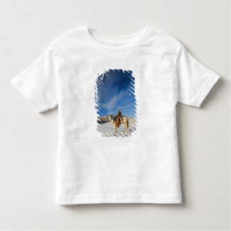Cowboy on his Horse in the Snow 2 Tshirt