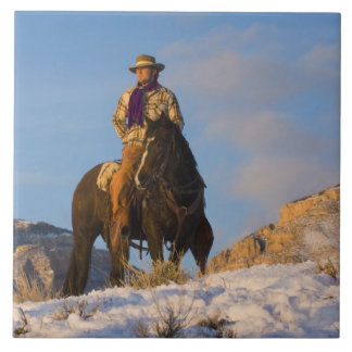 Cowboy on his Horse in the Snow Large Square Tile