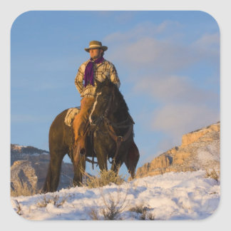 Cowboy on his Horse in the Snow Square Sticker