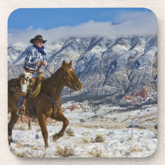 Cowboy on Horse wearing Leather Chaps 2 Coasters