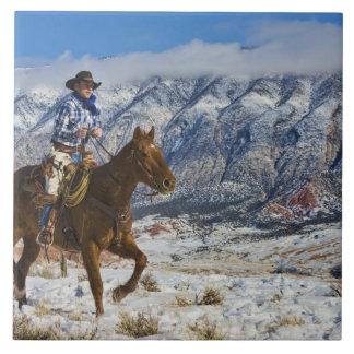 Cowboy on Horse wearing Leather Chaps 2 Large Square Tile