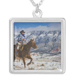 Cowboy on Horse wearing Leather Chaps 2 Square Pendant Necklace