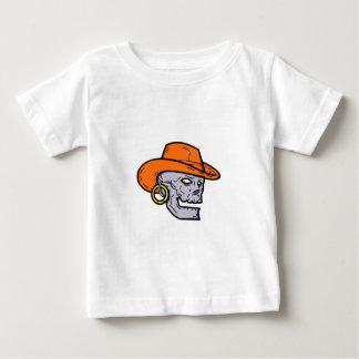 Cowboy Pirate Skull Mono Line Art Baby T-Shirt
