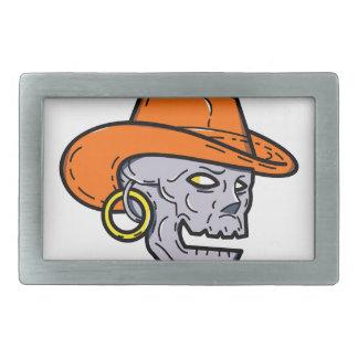 Cowboy Pirate Skull Mono Line Art Rectangular Belt Buckle