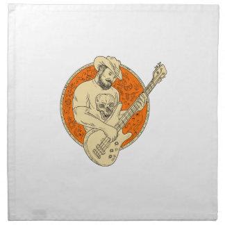 Cowboy Playing Bass Guitar Circle Drawing Napkin