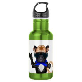 cowboy pug - dog cowboy 532 ml water bottle