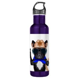 cowboy pug - dog cowboy 710 ml water bottle