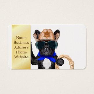 cowboy pug - dog cowboy business card