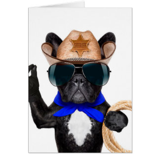 cowboy pug - dog cowboy card