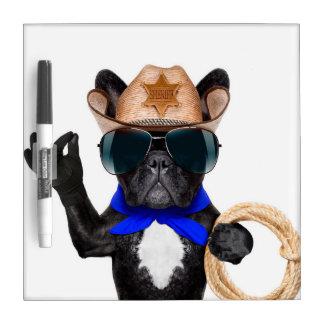 cowboy pug - dog cowboy dry erase board