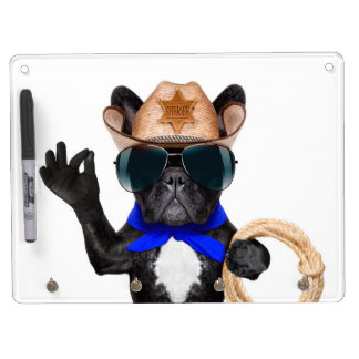 cowboy pug - dog cowboy dry erase board with key ring holder