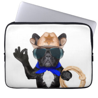 cowboy pug - dog cowboy laptop sleeve