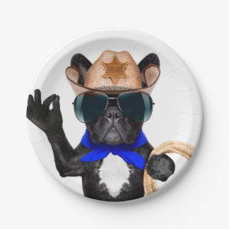 cowboy pug - dog cowboy paper plate