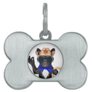 cowboy pug - dog cowboy pet ID tag