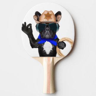 cowboy pug - dog cowboy ping pong paddle