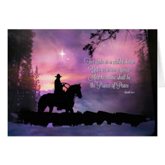 Cowboy Religious Bible Quote Christmas Card