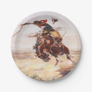 Cowboy Riding A Bucking Horse Party Plates