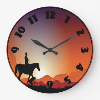 Cowboy Riding A Horse Clock
